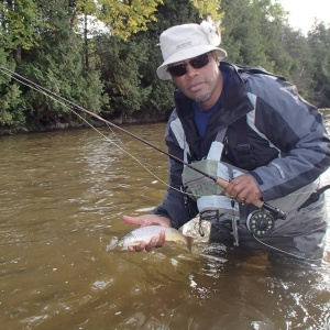 SSBCA member Tedy catches a nice brown on the Grand River